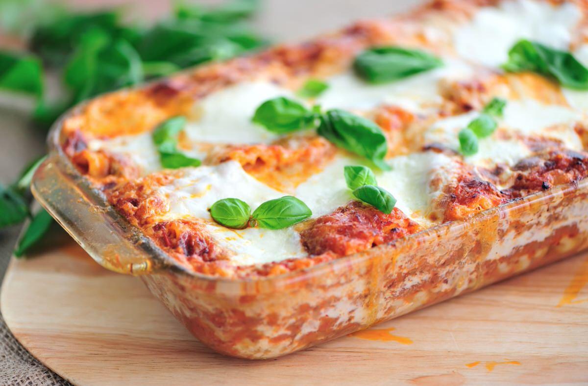 Lasaña de tomate y mozzarella