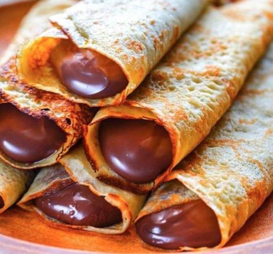 Crepes relleno de chocolate