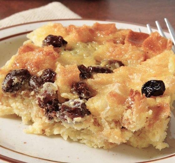 Pudding de pan y melocotón