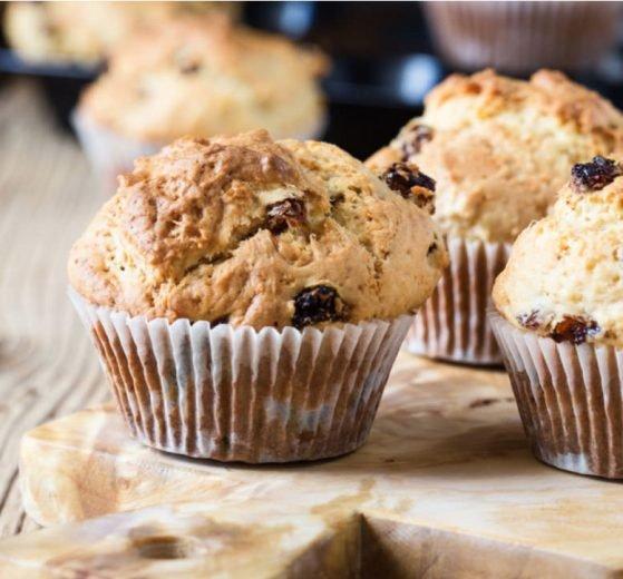 Muffins de avena y pasas