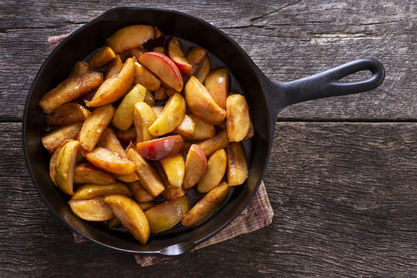 Frutas cocinadas en sartén